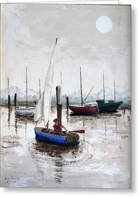 Boy In Blue Sailboat Greeting Card by Dan Bozich