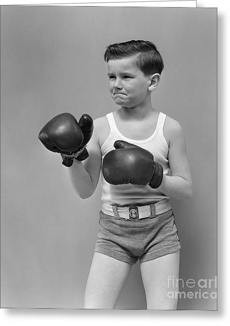 Boy In Boxing Gear, C.1940s Greeting Card by H. Armstrong Roberts/ClassicStock