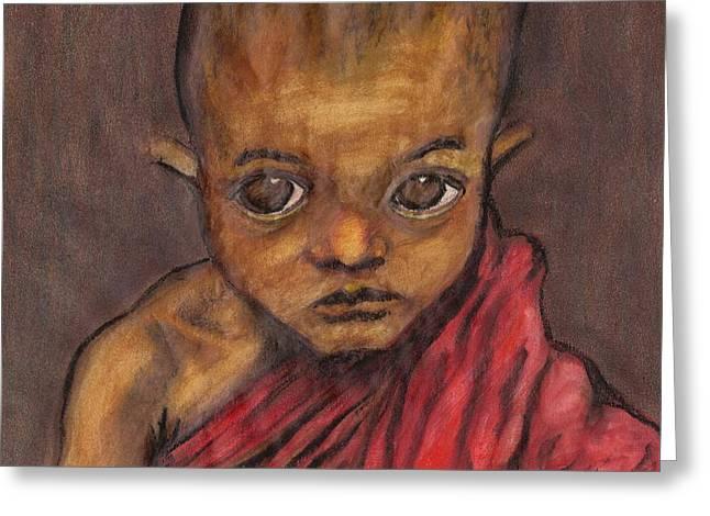 Boy In Burma Greeting Card by Jean Haynes