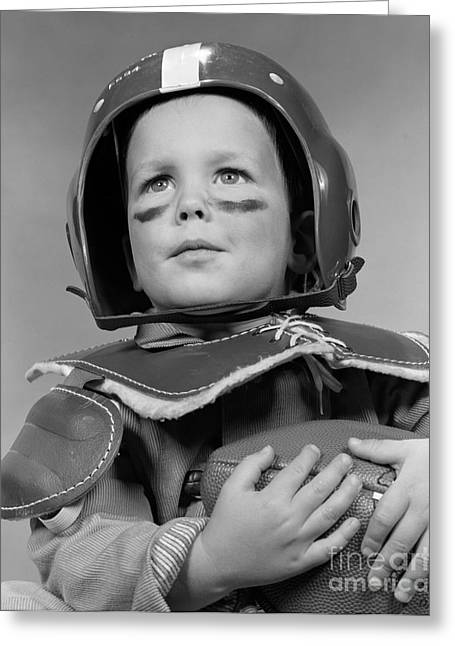 Boy In Football Gear, C.1950s Greeting Card by H. Armstrong Roberts/ClassicStock