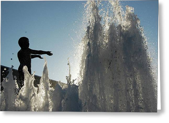 Boy In Fountain Greeting Card by Samantha Kimble