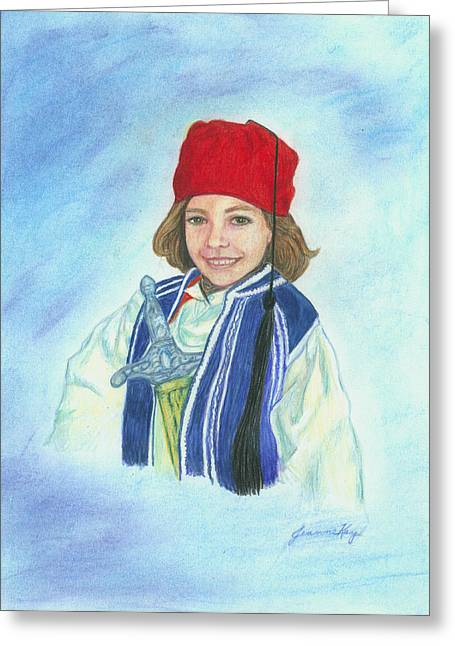 Greeting Card featuring the painting Boy In Greek Costume by Jeanne Kay Juhos