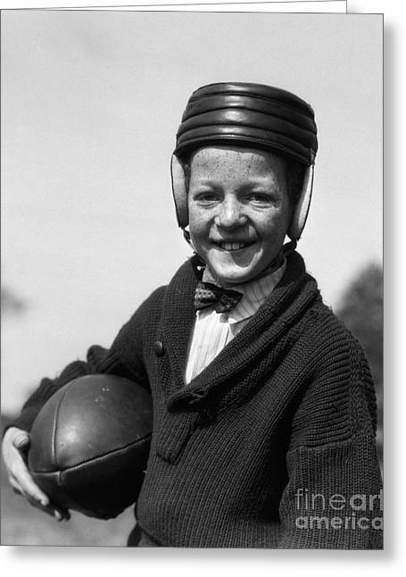 Boy In Old-fashioined Football Gear Greeting Card by H. Armstrong Roberts/ClassicStock