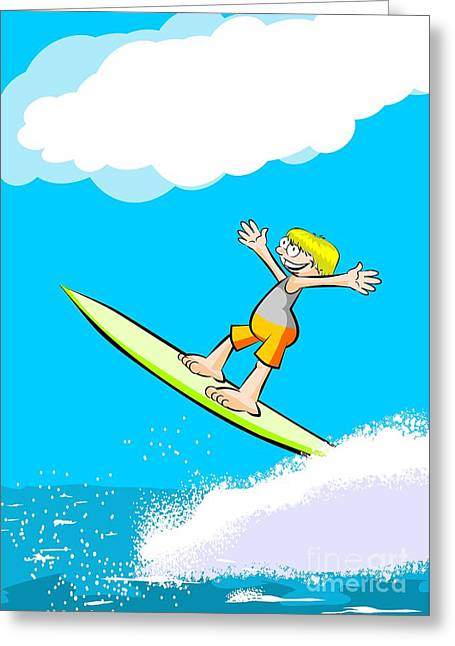 Boy In Orange Swimsuit Doing Surfing And Jumping Over The Waves Over A Blue Sky Greeting Card