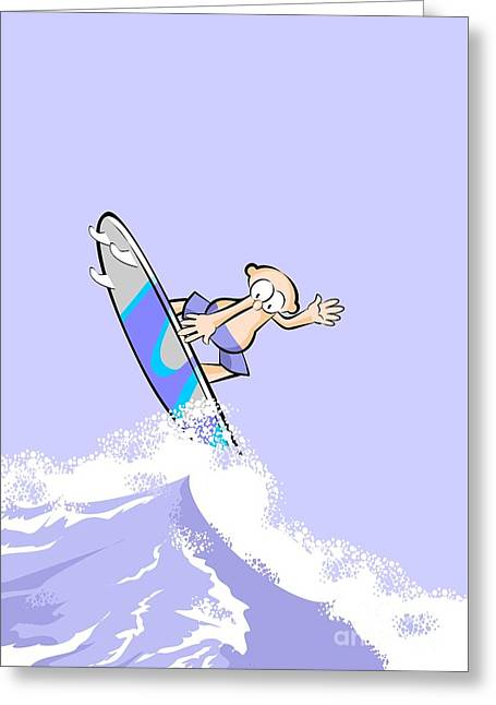 Boy Jumping High Over The Waves With His Surfboard Greeting Card