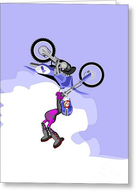 Boy Jumping High With His Blue Motocross Greeting Card