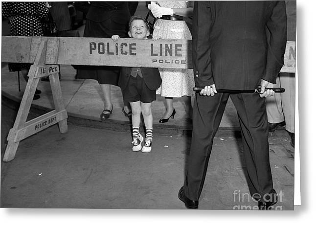 Boy Looking Over Police Line Greeting Card by Debrocke/ClassicStock