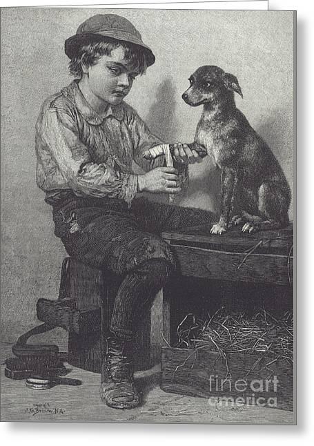 Boy Mends Dog's Leg Greeting Card
