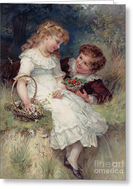 Boy Offering Wild Strawberries To His Girl Friend Greeting Card