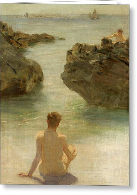 Greeting Card featuring the painting Boy On A Beach, 1901 by Henry Scott Tuke