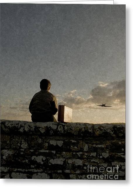Boy On Wall Greeting Card