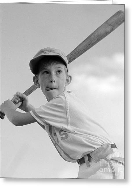 Boy Playing Baseball, C.1960s Greeting Card by Debrocke/ClassicStock