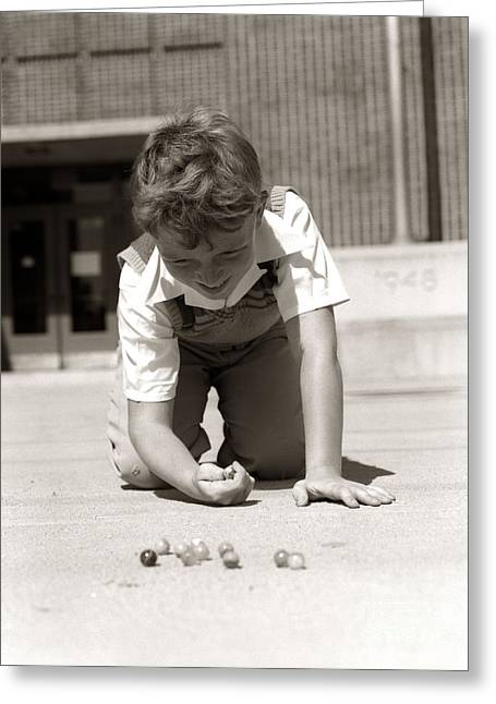 Boy Playing Marbles, C.1950s Greeting Card by H. Armstrong Roberts/ClassicStock