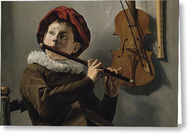 Boy Playing The Flute Greeting Card