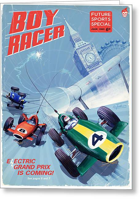 Boy Racer Greeting Card by Alex Tomlinson