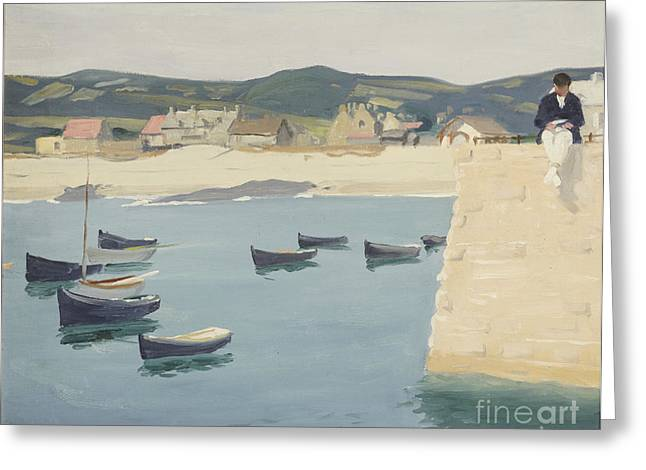 Sailboat Ocean Greeting Cards - Boy Reading on a Harbours Edge  Greeting Card by William Strang
