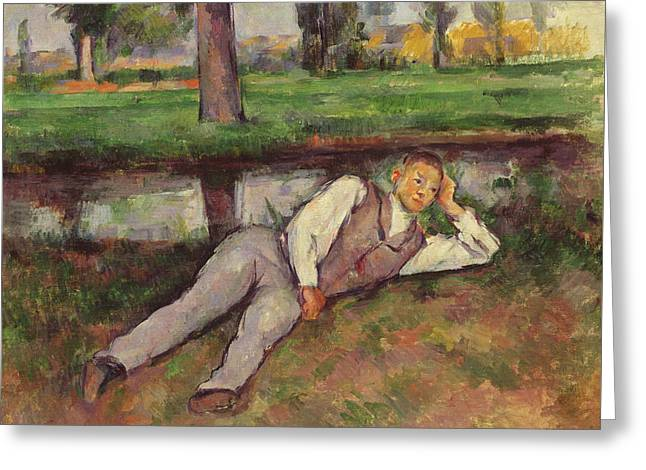 Boy Resting Greeting Card by Paul Cezanne