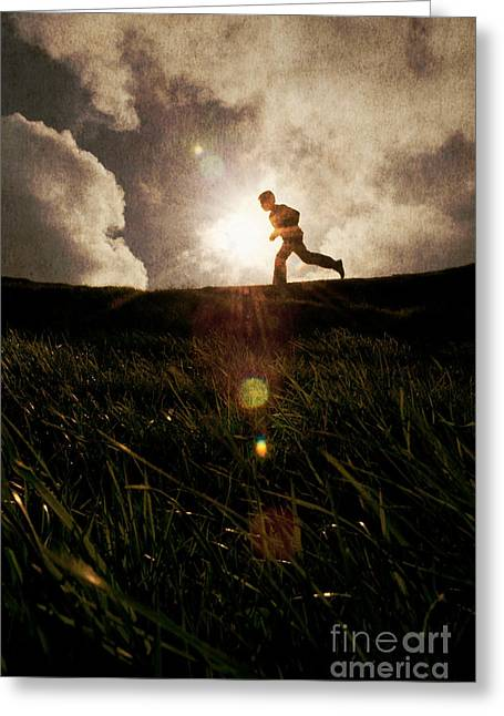 Boy Running Greeting Card