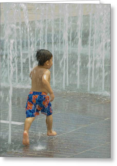Boy Running In The Water Greeting Card by Robert  Suggs