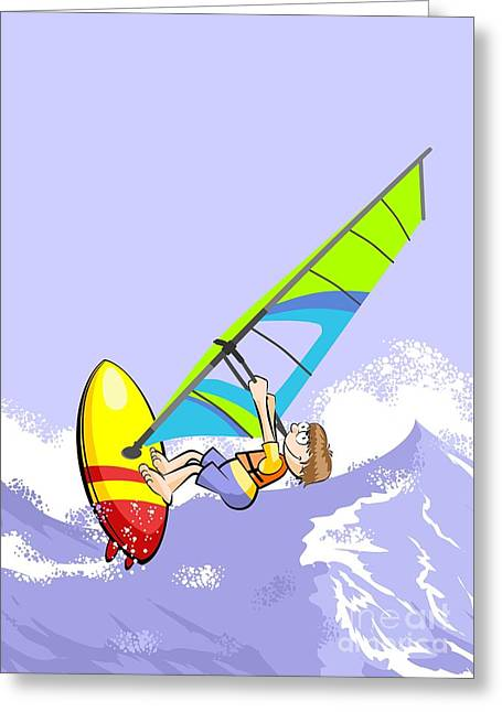 Boy Sailing Among The Great Waves Of Stormy Ocean With His Windsurf Board Greeting Card