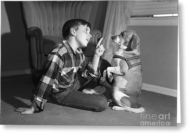 Boy Scolding Dog, C.1950s Greeting Card by Debrocke/ClassicStock