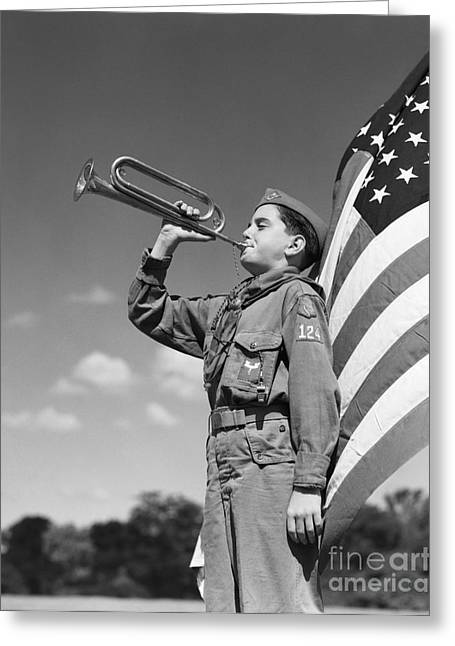 Boy Scout Blowing Bugle, C.1950s Greeting Card by H. Armstrong Roberts/ClassicStock