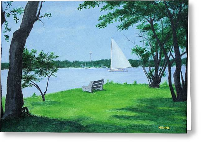 Greeting Card featuring the painting Boy Scout Island by Robert Henne