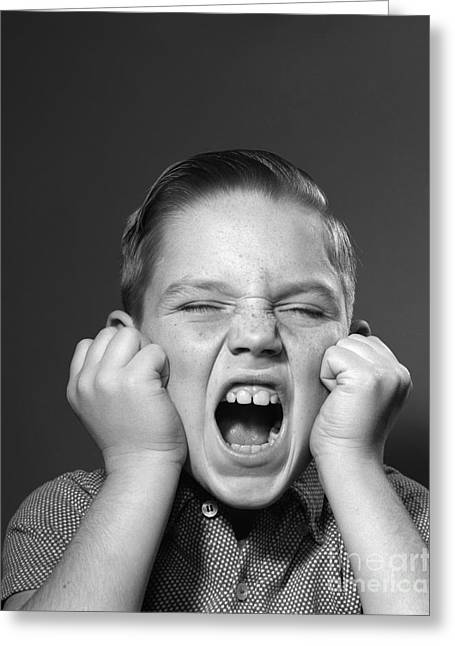 Boy Screaming, C.1950s Greeting Card