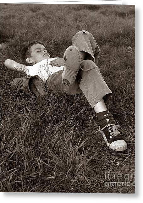 Boy Sleeping In The Grass, C.1960s Greeting Card