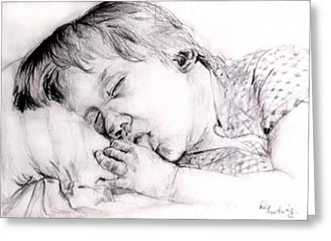 Boy Sleeps Greeting Card by Diana Ludwig
