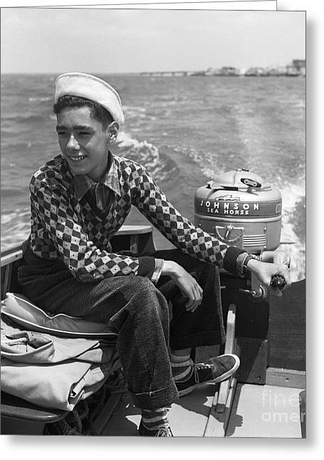 Boy Steering A Boat, C. 1950s Greeting Card by G. Hampfler/ClassicStock