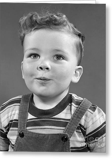Boy Wearing Stripe Shirt, C.1950s Greeting Card by H. Armstrong Roberts/ClassicStock