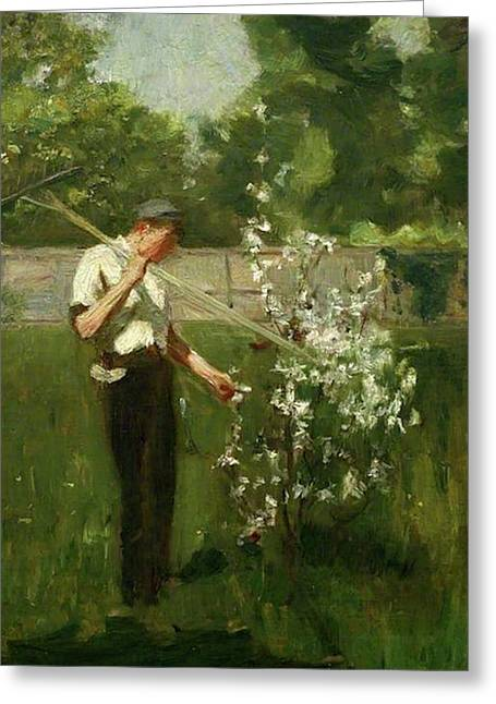 Greeting Card featuring the painting Boy With A Grass Rake by Henry Scott Tuke