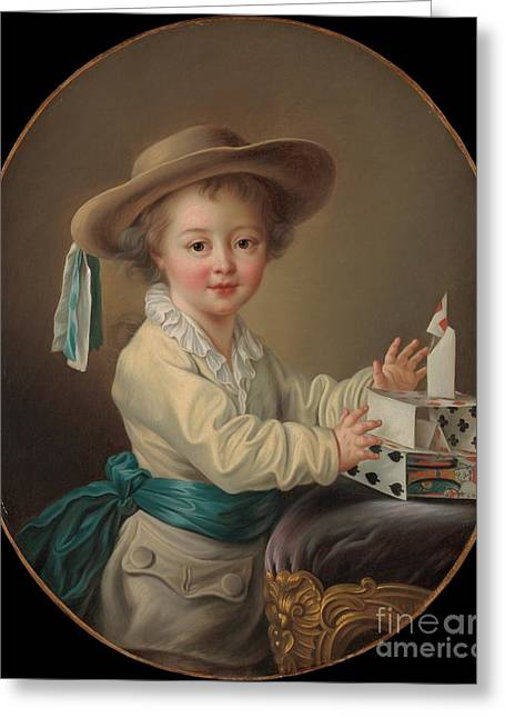 Boy With A House Of Cards Greeting Card