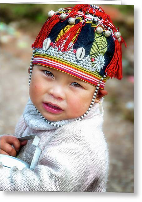Boy With A Red Cap. Greeting Card