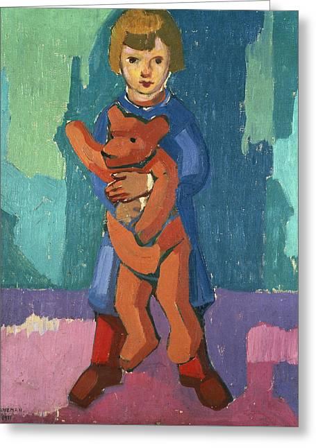 Boy With A Teddy Bear Greeting Card by Axel Torneman