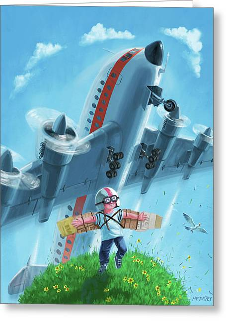 Boy With Airplane On Hilltop Greeting Card