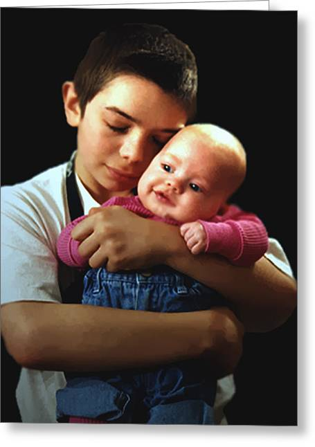 Greeting Card featuring the photograph Boy With Bald-headed Baby by RC deWinter