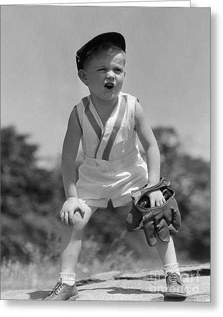 Boy With Baseball Cap And Mitt Yelling Greeting Card by H. Armstrong Roberts/ClassicStock
