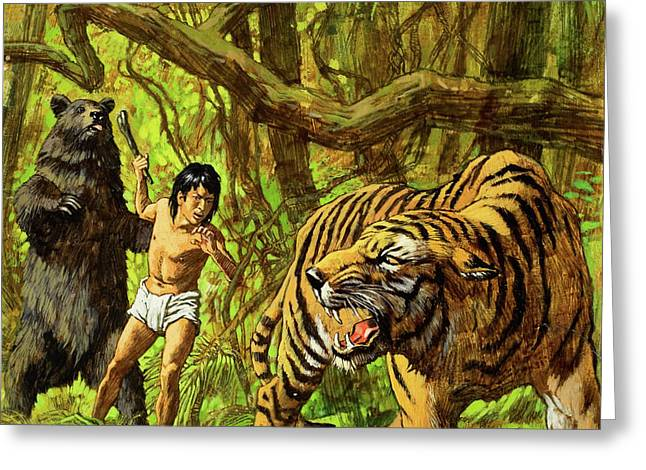 Boy With Bear And Tiger  Greeting Card by English School