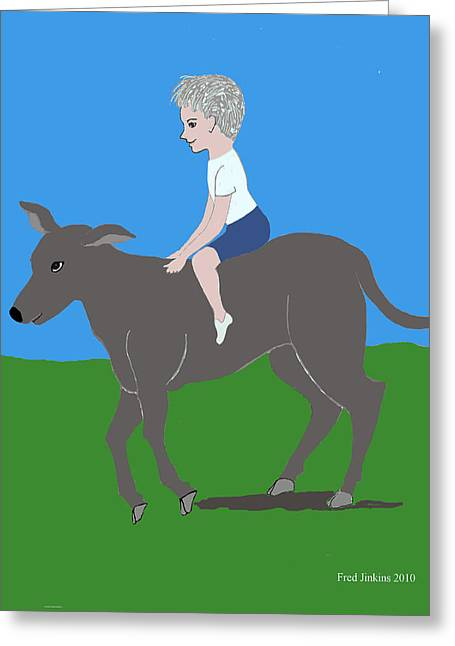 Boy With Calf Greeting Card by Fred Jinkins