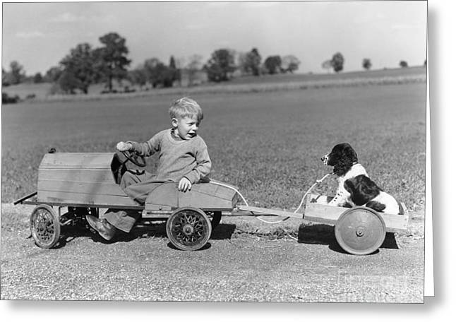 Boy With Canine Cargo, C.1930-40s Greeting Card by H. Armstrong Roberts/ClassicStock