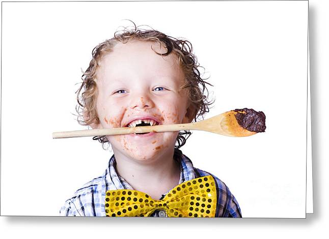 Boy With Chocolate Covered Face Greeting Card by Jorgo Photography - Wall Art Gallery