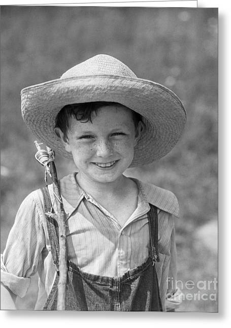 Boy With Fishing Pole, C.1930s Greeting Card by H. Armstrong Roberts/ClassicStock