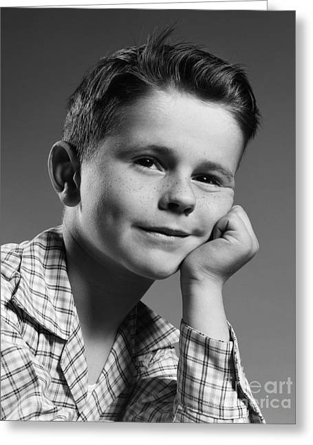 Boy With Freckles, C.1950s Greeting Card