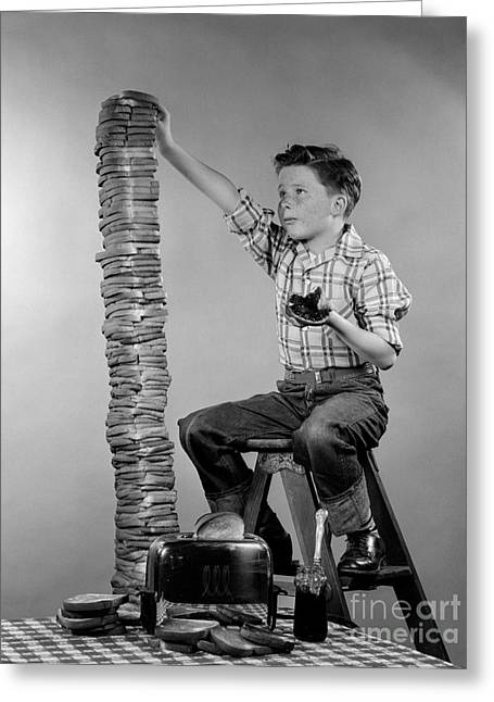 Boy With Huge Stack Of Toast, C.1950s Greeting Card by H. Armstrong Roberts/ClassicStock