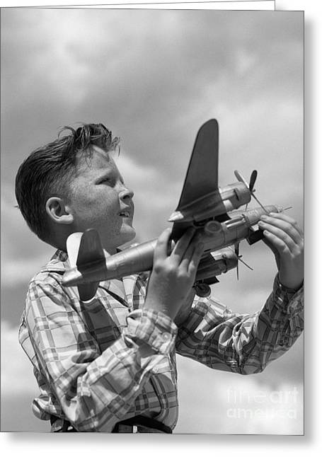 Boy With Model Airplane, C. 1940s Greeting Card by H. Armstrong Roberts/ClassicStock