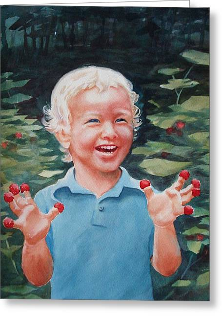 Greeting Card featuring the painting Boy With Raspberries by Marilyn Jacobson