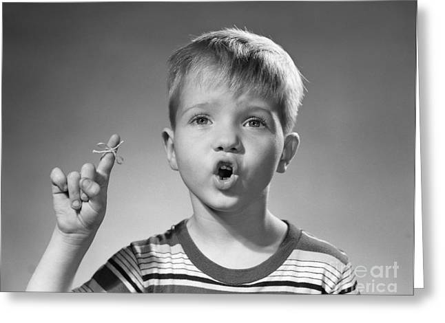 Boy With String Around Finger, C.1950s Greeting Card