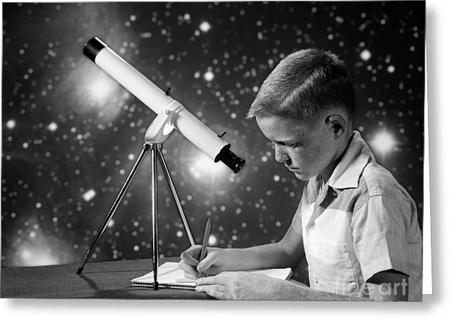 Boy With Telescope, C.1960s Greeting Card
